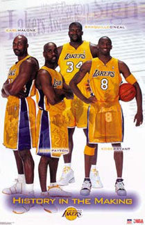 "L.A. Lakers ""History in the Making"" (Kobe, Shaq, Malone, Payton) Poster - Starline 2003"