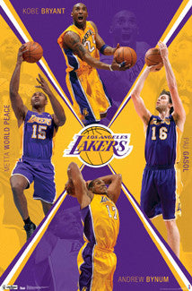 "L.A. Lakers ""Action 2012"" NBA Basketball Poster (Kobe Bryant, Gasol, Bynum, Metta World Peace) - Costacos Sports"