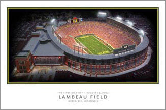 "Lambeau Field Green Bay Packers ""Kickoff"" (August 23, 2003) Stadium Aerial View Poster - LightCraft Grphx"