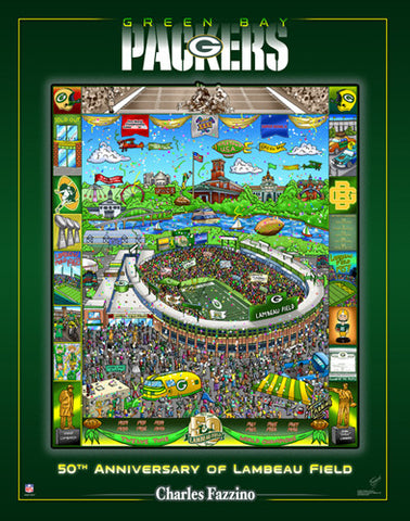 Green Bay Packers 50th Anniversary of Lambeau Field Commemorative Poster - Charles Fazzino