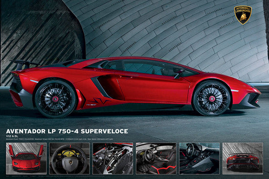 Lamborghini Aventador LP 750-4 Superveloce Supercar Sports Car Poster - Eurographics Inc.