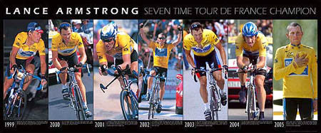 Lance Armstrong Seven-Time Tour de France Champion Wall-Sized Poster Print - Graham Watson 2005