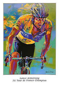 Lance Armstrong 7X Tour de France Champion Commemorative Poster by Malcolm Farley - Image Conscious