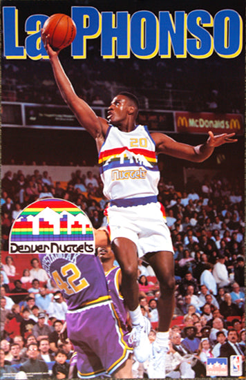"LaPhonso Ellis ""Drive"" Denver Nuggets NBA Action Poster - Starline 1993"