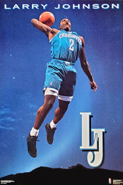 "Larry Johnson ""LJ"" Charlotte Hornets NBA Basketball Action Poster - Costacos 1992"