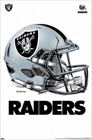 Las Vegas Raiders Silver-and-Black Helmet Style Poster - Trends International/P.D. Moreno