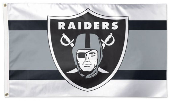 Las Vegas Raiders Logo-On-Silver Official NFL Football DELUXE-EDITION Team 3'x5' Flag - Wincraft Inc.