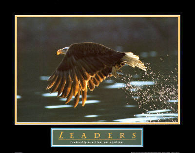 "Soaring Bald Eagle ""Leaders"" Motivational Poster - Front Line"