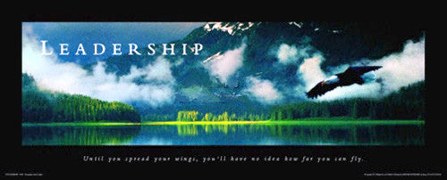 "Soaring Eagle ""Leadership"" Motivational Poster - Front Line 12x36"