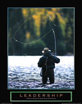 "Fly Fishing ""Leadership"" Motivational Inspirational Poster - Front Line Art Publishing"