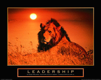 "African Lion ""Leadership"" Motivational Poster - Front Line"