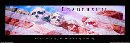 "Mount Rushmore ""Leadership"" Patriotic Motivational Poster - Front Line 12x36"