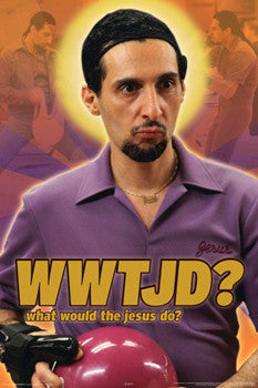 "The Big Lebowski ""What would the jesus do?"" Bowling Character Poster - Aquarius 2010"
