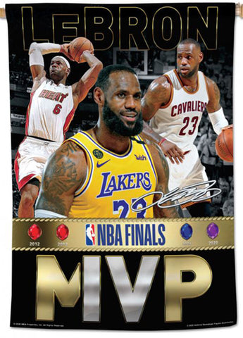LeBron James 4-Time NBA Championship Finals MVP (Heat, Cavs, Lakers) Official 28x40 Wall Banner - Wincraft Inc.