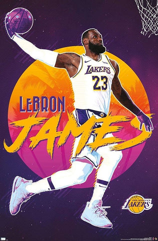 "LeBron James ""Purple Reign"" Los Angeles Lakers Official NBA Poster - Trends 2021"