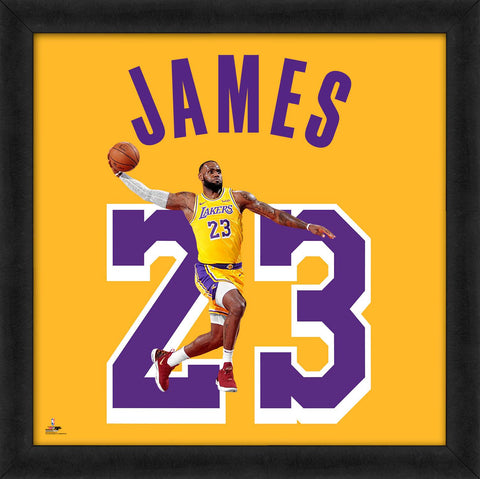 "LeBron James ""Number 23"" Los Angeles Lakers FRAMED 20x20 UNIFRAME PRINT - Photofile"