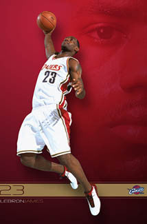 "LeBron James ""Red Dawn"" Cleveland Cavaliers NBA Action Poster - Costacos 2003"