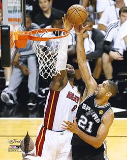 LeBron James Blocks Tim Duncan (2013 NBA Finals) Premium Poster Print - Photofile 16x20