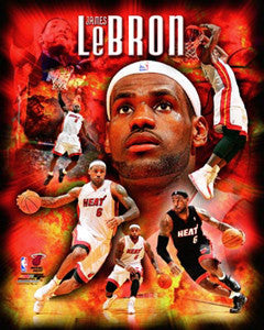 "LeBron James ""Inferno"" Miami Heat Premium 16x20 Poster Print - Photofile Inc."