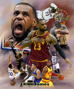 "LeBron James ""King James, Champion"" Cleveland Cavaliers Premium Poster Print - Wishum Gregory"