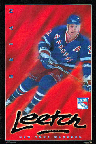 "Brian Leetch ""Blue Streak"" New York Rangers Poster - Costacos Brothers 1996"