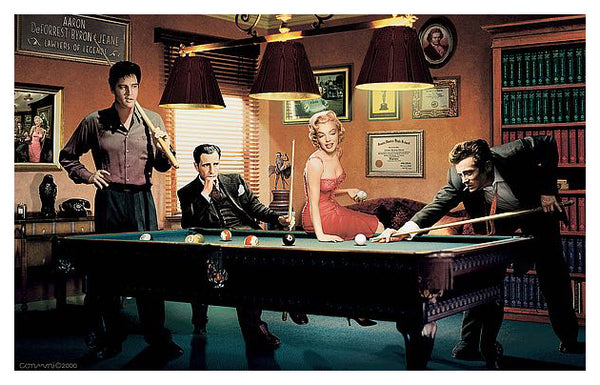 "Legends Playing Pool ""Legal Action"" Classic Poster Print by Chris Consani - Jadei Graphics"