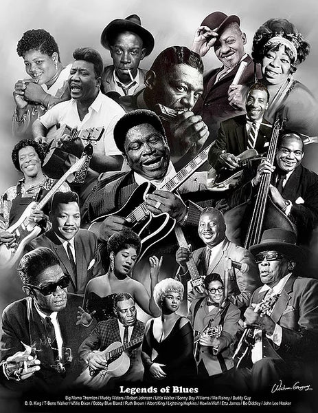 Legends Of Blues (18 Musicians) American Music Superstars Art Collage Poster Print - Wishum Gregory