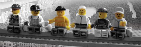 "Lego Workmen ""Lunch on a Manhattan Skyscraper"" HUGE Wall-Sized Poster - Pyramid"