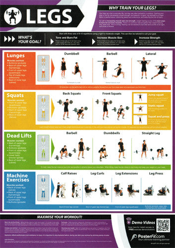 Legs Workout Professional Fitness Training Wall Chart Poster (w/QR Code) - PosterFit