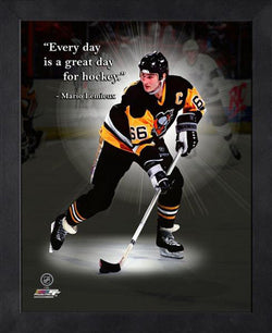 "Mario Lemieux ""Great Day for Hockey"" Pittsburgh Penguins FRAMED 16x20 PRO QUOTES PRINT - Photofile"