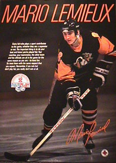 "Mario Lemieux ""Fair Play"" Pittsburgh Penguins Poster - CAHA 1988"