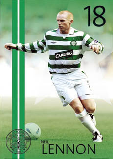 "Neil Lennon ""Action"" Glasgow Celtic FC Poster - GB 2004"