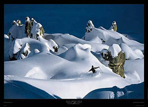 "Skiing ""Les Dolines"" French Alps Ski Wonderland Premium Poster Print - Pecheur d'Images"