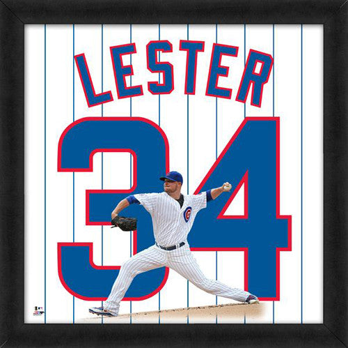 "Jon Lester ""Number 34"" Chicago Cubs MLB FRAMED 20x20 UNIFRAME PRINT - Photofile"