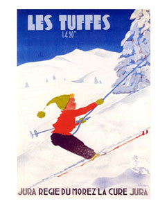 "Skiing ""Les Tuffes"" c.1950 Vintage Jura, France Ski Poster Reprint- Editions Clouets"