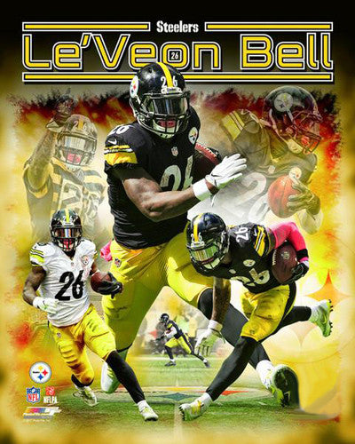 "Le'Veon Bell ""Superstar"" Pittsburgh Steelers Premium NFL Gameday Collage Poster - Photofile 16x20"