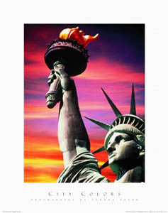 "Statue of Liberty at Dusk ""City Colors"" Premium Poster Print - Front Line Art Publishing"