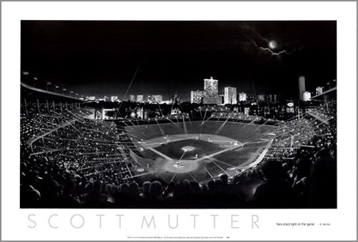 "Wrigley Field ""Fans Shed Light on the Game"" (Before the Lights) Black-and-White Poster Print by Scott Mutter - NYGS"