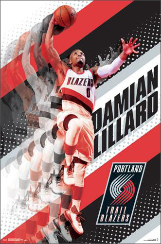 "Damian Lillard ""Rising"" Portland Trail Blazers Official NBA Poster - Trends International 2017"
