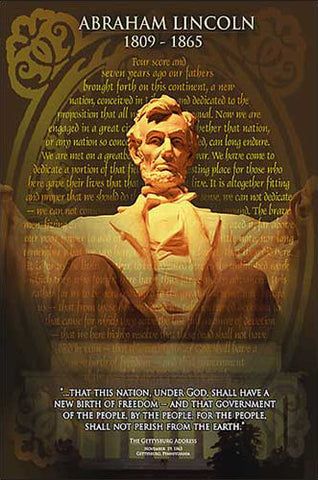 Abraham Lincoln Memorial with Gettysburg Address American History Poster - Eurographics