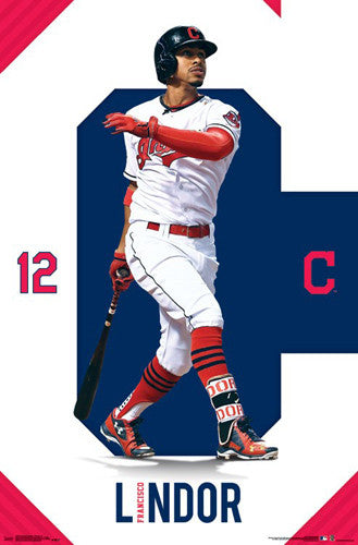 "Francisco Lindor ""Crusher"" Cleveland Indians Official MLB Baseball Poster - Trends International"