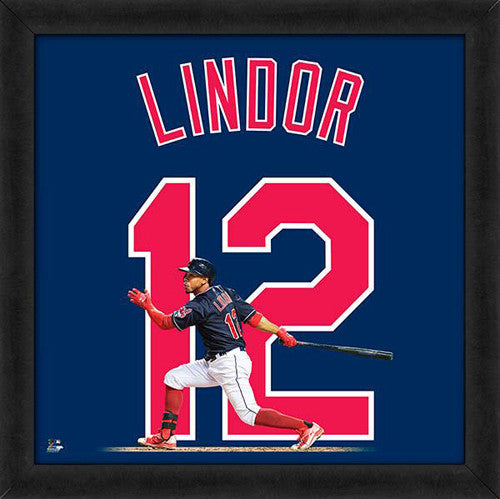 "Francisco Lindor ""Number 12"" Cleveland Indians MLB FRAMED 20x20 UNIFRAME PRINT - Photofile"