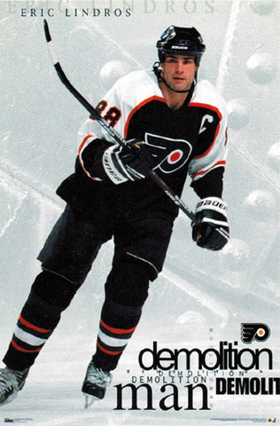"Eric Lindros ""Demolition Man"" Philadelphia Flyers Poster - Costacos 1998"