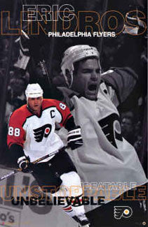 "Eric Lindros ""Unstoppable"" Philadelphia Flyers Poster - Costacos 1997"