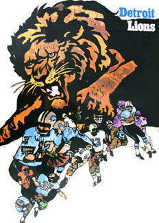 Detroit Lions NFL Collectors Series Vintage Original Poster (1968)