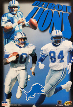 "Detroit Lions ""Super Trio"" (Barry Sanders, Mitchell, Moore) Poster - Starline 1997"