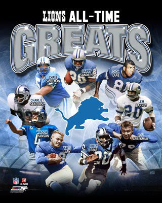 "Detroit Lions ""All-Time Greats"" (9 Legends) Premium Poster Print - Photofile Inc"