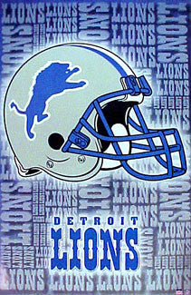 Detroit Lions Official NFL Football Team Helmet Logo Poster - Starline 2001