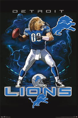"Detroit Lions ""On Fire"" NFL Theme Art Poster - Costacos Sports"