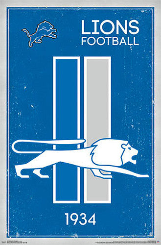 Detroit Lions NFL Heritage Series Official NFL Football Team Retro Logo Poster - Costacos Sports
